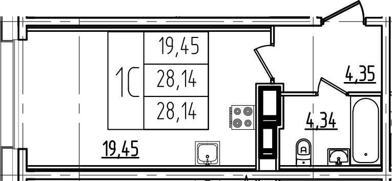 Студия, 28.14 м²