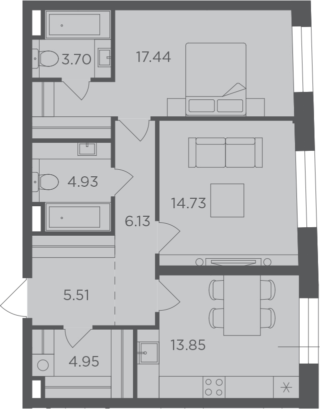 2-к.кв, 71.24 м²
