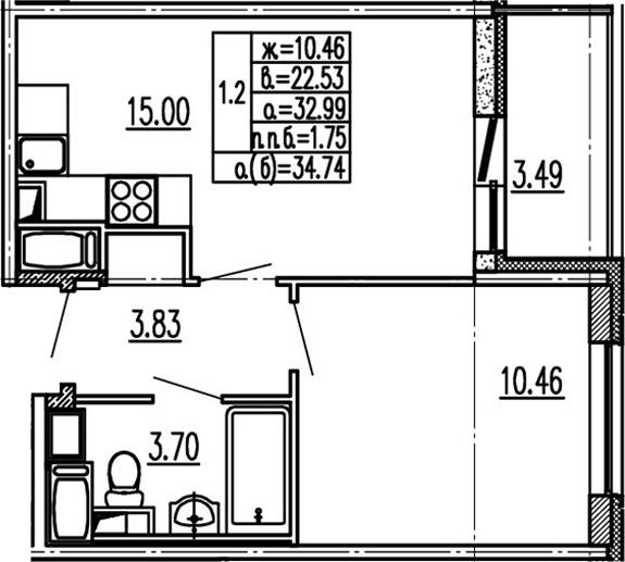 2Е-к.кв, 32.99 м², 12 этаж
