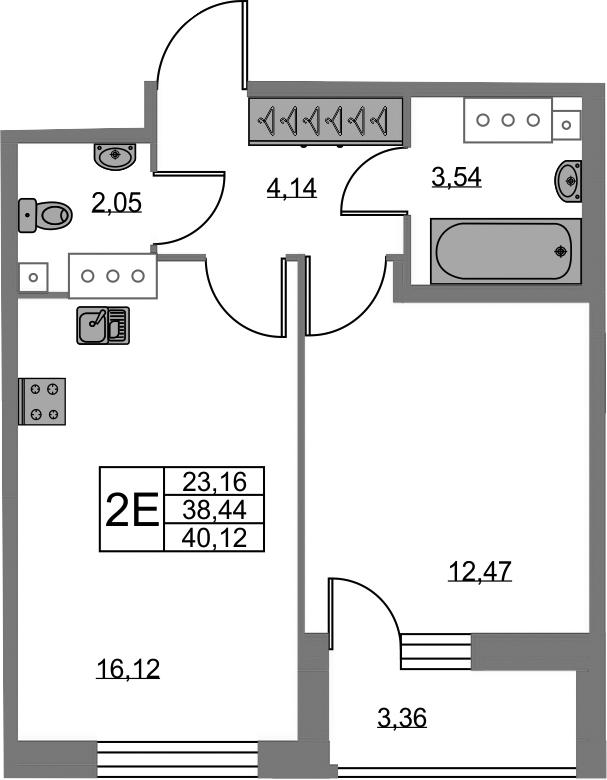 2-к.кв (евро), 41.8 м²