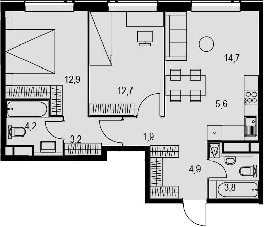 3Е-к.кв, 63.9 м², 21 этаж
