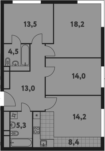 4-к.кв (евро), 91.1 м²