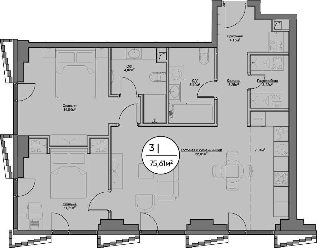 3Е-к.кв, 75.61 м²