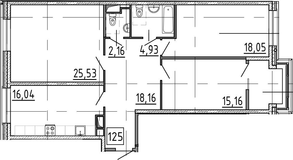 3-к.кв, 105.26 м², от 3 этажа