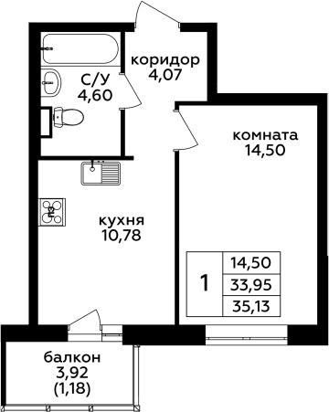 1-комнатная, 35.13 м²– 2