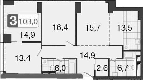 4-к.кв (евро), 104.3 м²