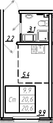 Студия, 20.6 м², 2 этаж – Планировка