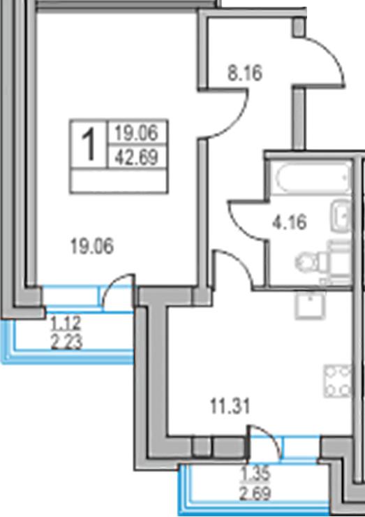 1-комнатная, 42.69 м²– 2