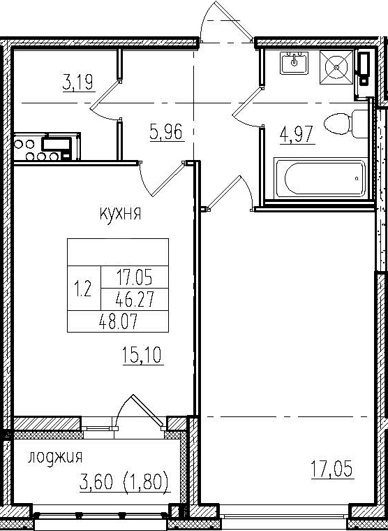 2Е-комнатная, 48.07 м²– 2
