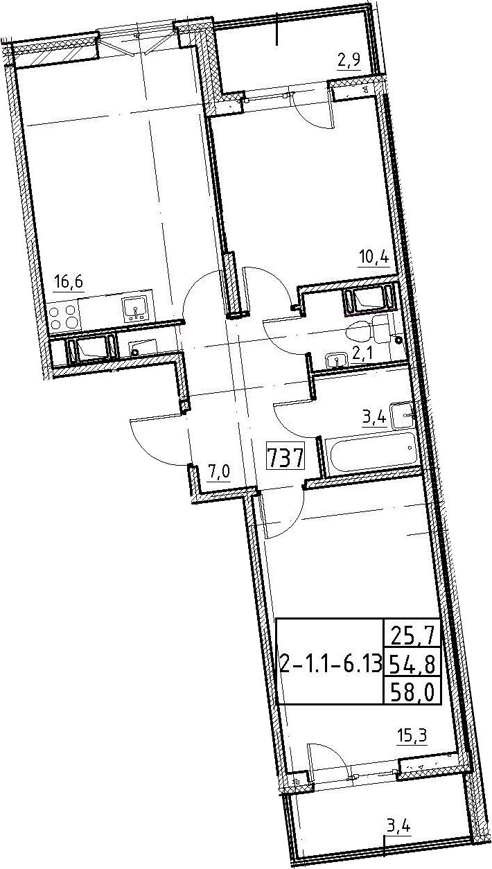 3-к.кв (евро), 61.2 м²