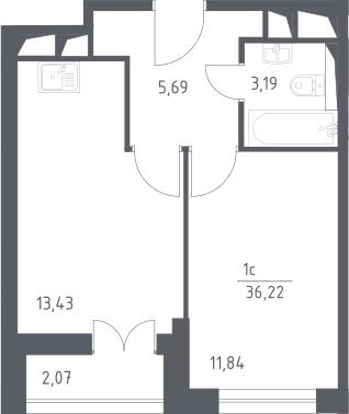 2Е-комнатная, 36.22 м²– 2