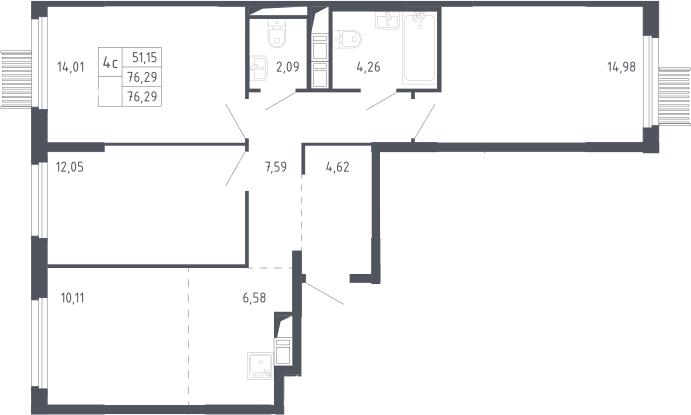 4Е-к.кв, 76.29 м², 13 этаж