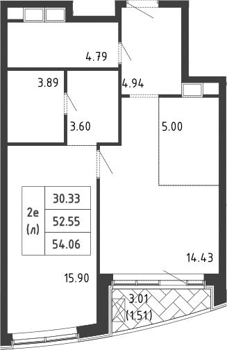 2Е-к.кв, 54 м², 5 этаж