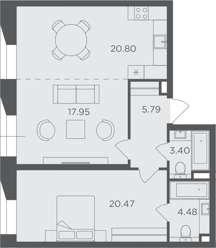 2-к.кв, 72.89 м², 11 этаж