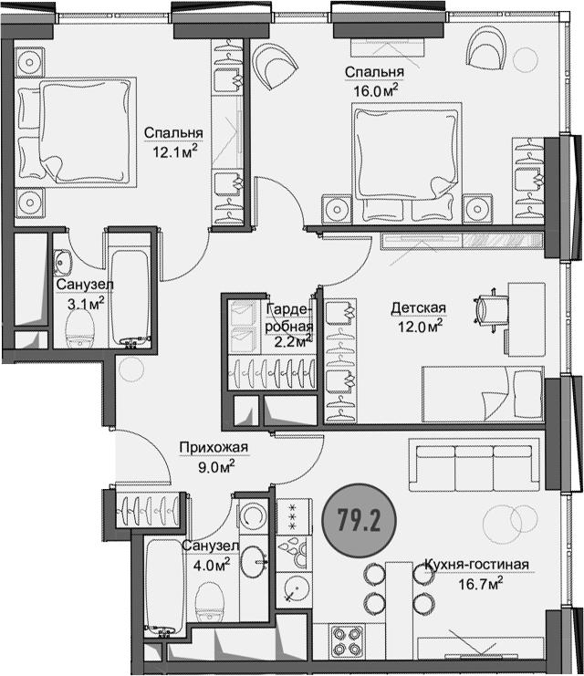 Своб. план., 79.2 м²