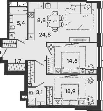 3Е-комнатная, 77.2 м²– 2