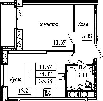 1-к.кв, 36.69 м²