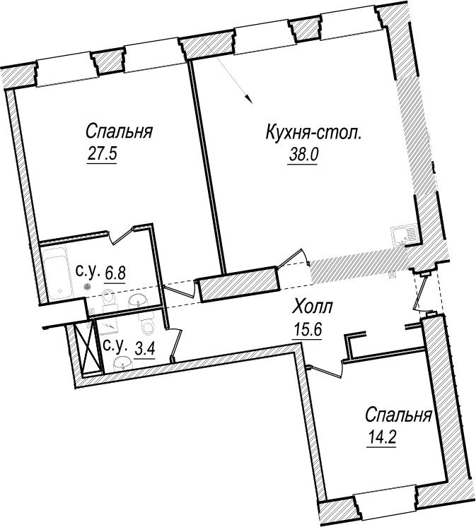 3Е-к.кв, 105.5 м², 5 этаж