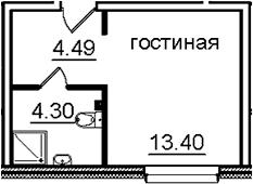 Студия, 22.19 м²