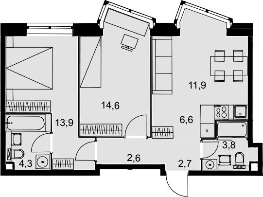 3Е-к.кв, 60.4 м², 2 этаж