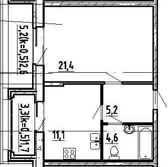 1-к.кв, 48.3 м²