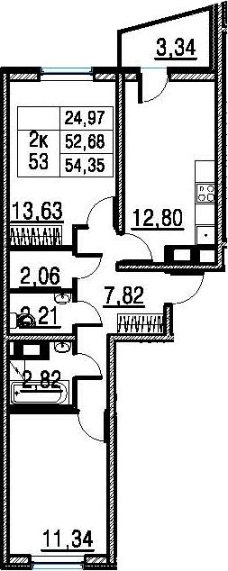 2-к.кв, 56.02 м²