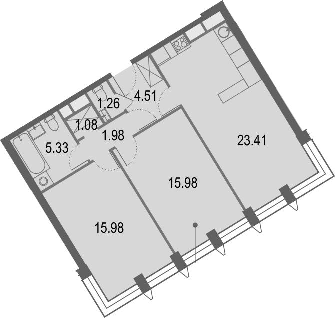 3Е-комнатная, 69.53 м²– 2