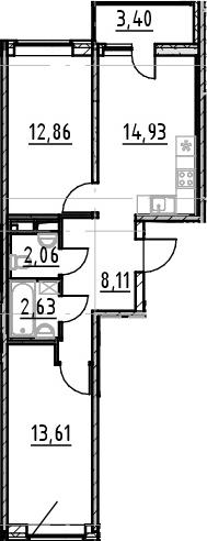 2-к.кв, 54.2 м², от 4 этажа