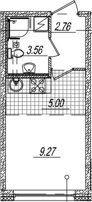 Студия, 20.59 м²– 2