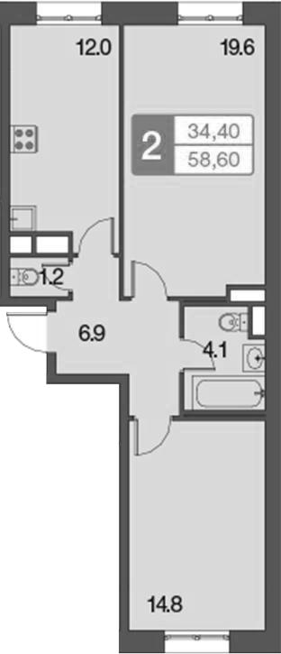 2-к.кв, 58.6 м²
