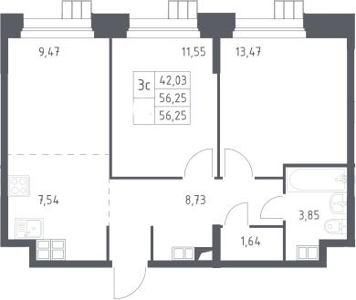 3Е-к.кв, 56.25 м², от 15 этажа