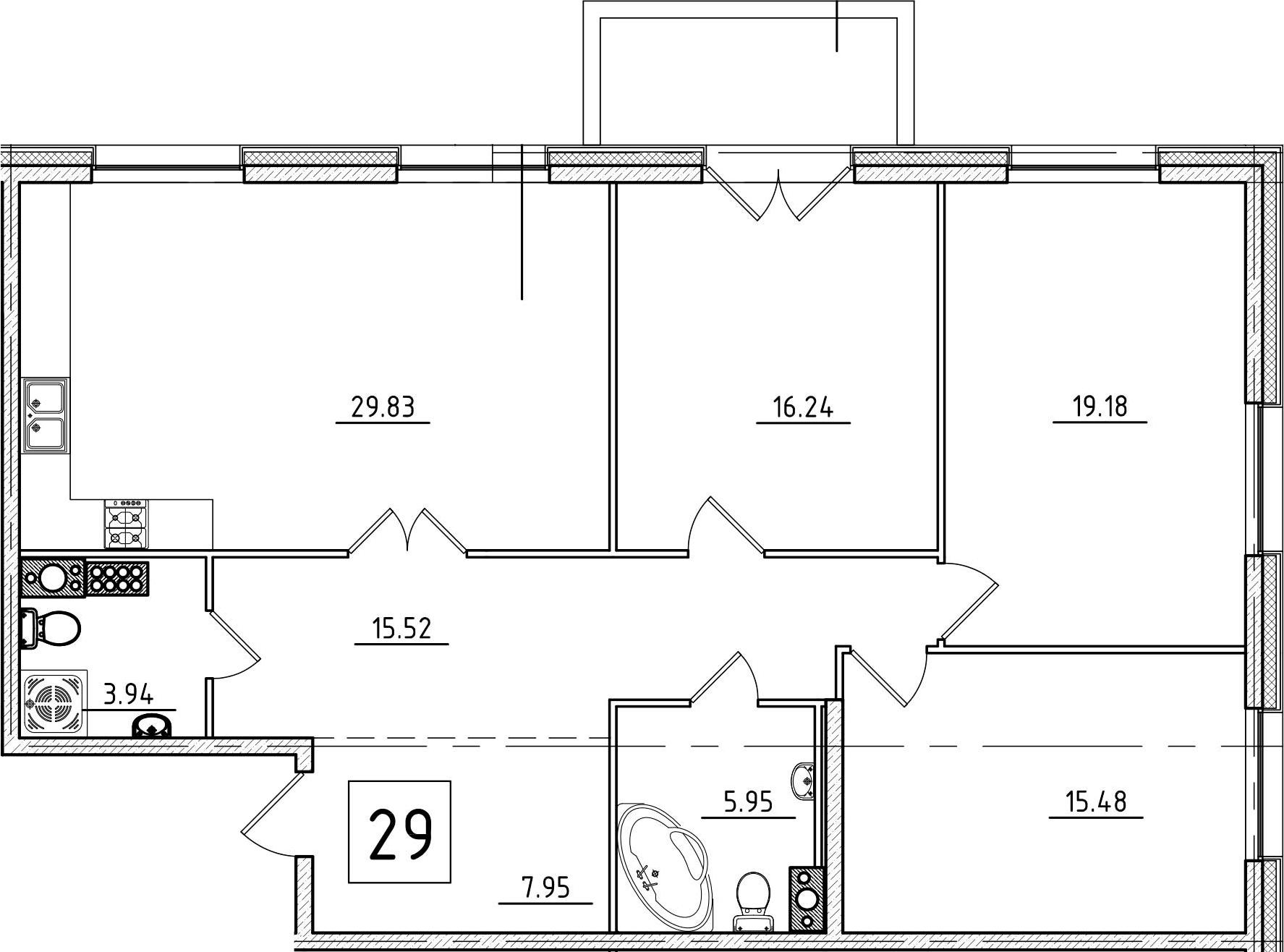 4Е-к.кв, 115.66 м², 9 этаж