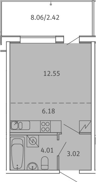 Студия, 28.18 м², 5 этаж