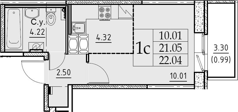 Студия, 22.04 м², 7 этаж