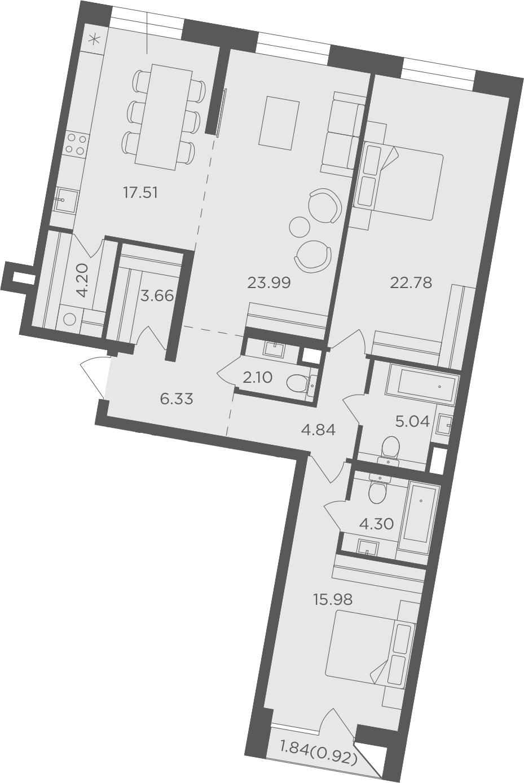 3-к.кв, 111.65 м²