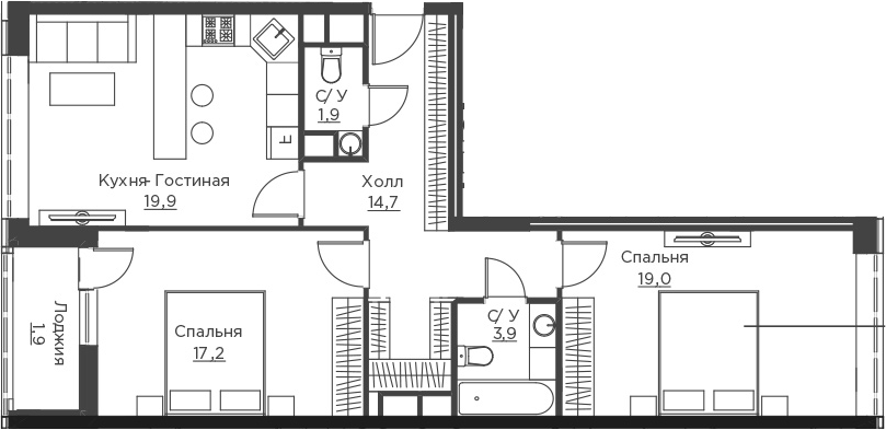 3Е-к.кв, 78.5 м²