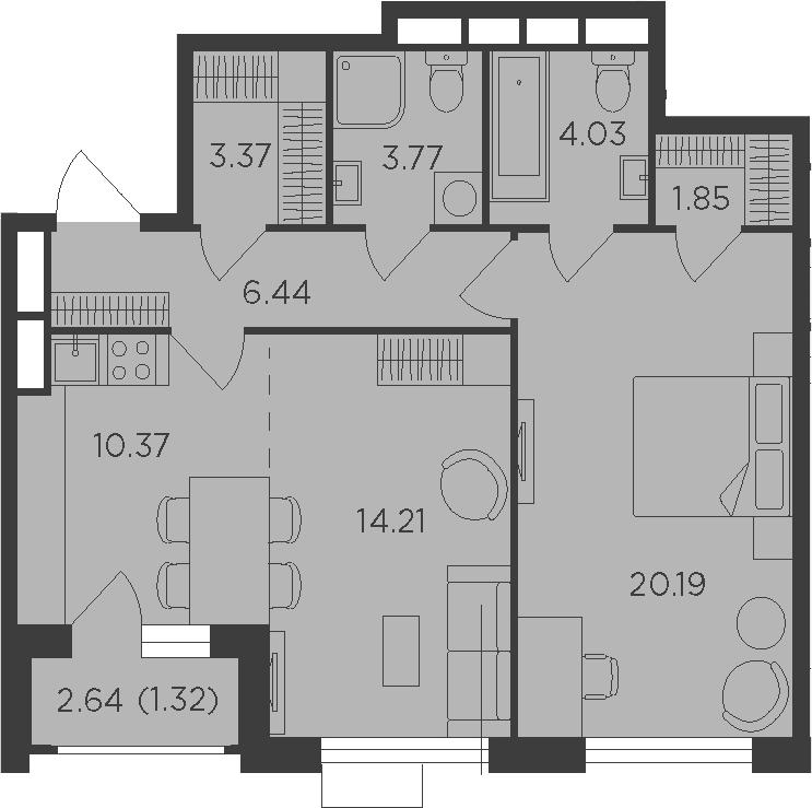 2Е-к.кв, 65.55 м², 21 этаж