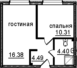 2Е-к.кв, 35.58 м²