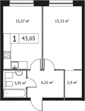 1-комнатная, 43.65 м²– 2