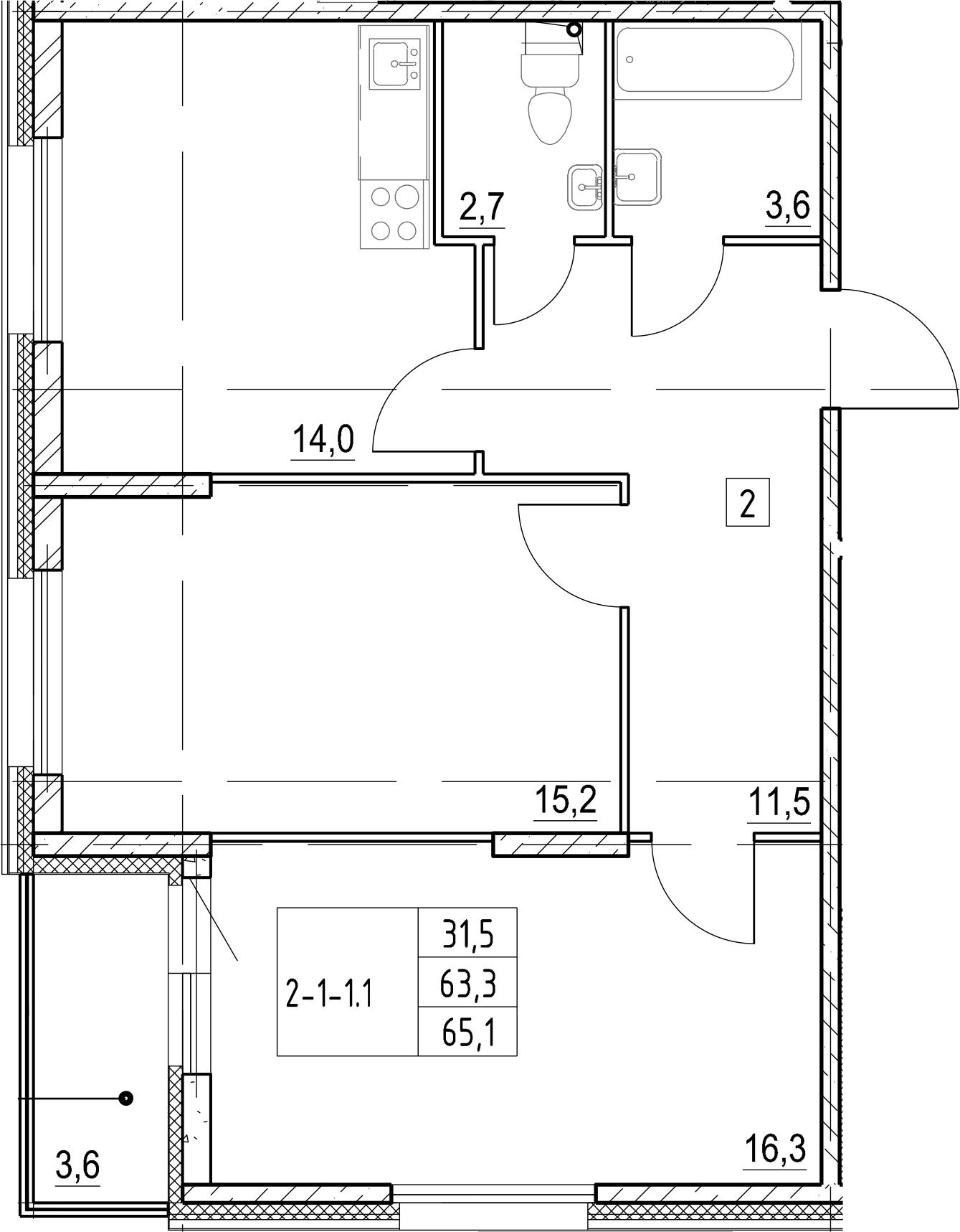 2-комнатная, 65.1 м²– 2