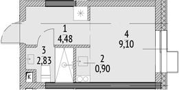 Студия, 17.31 м²– 2