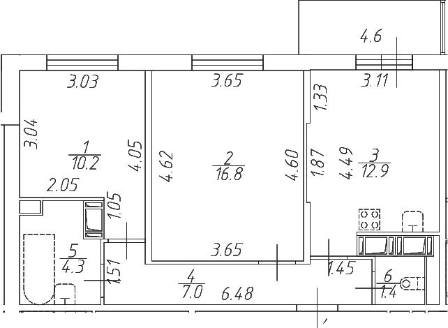 2-к.кв, 57.2 м²