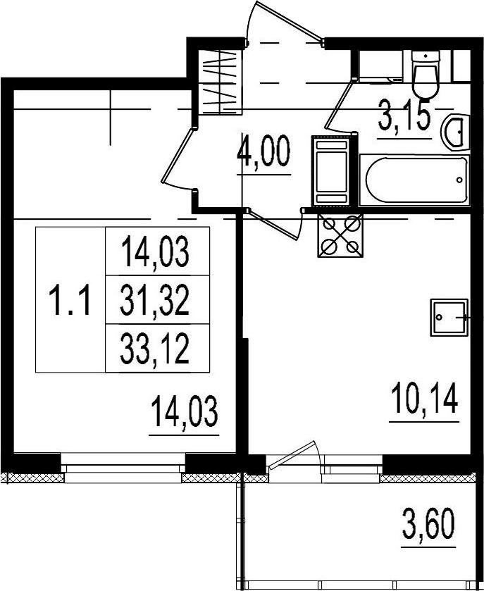 1-к.кв, 31.32 м²