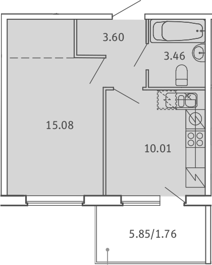 1-к.кв, 33.91 м², от 2 этажа