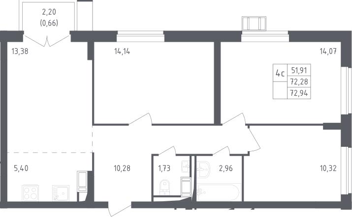 4Е-комнатная, 72.94 м²– 2