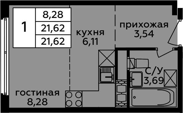 Студия, 21.62 м²
