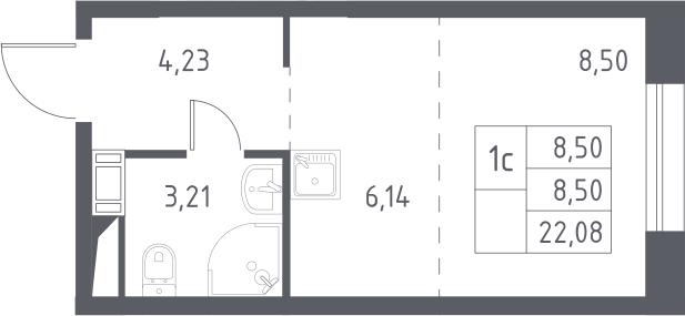 Студия, 22.08 м², 15 этаж