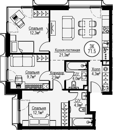 4Е-к.кв, 71.5 м², от 28 этажа