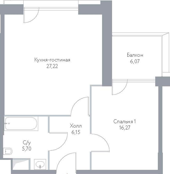 2Е-к.кв, 61.41 м², 12 этаж