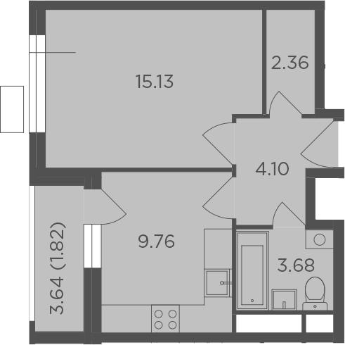 1-к.кв, 38.67 м²